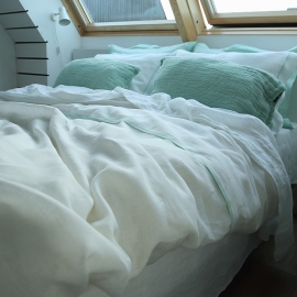 Duvet Cover White With Mint Piping Linen