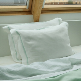 Pillow Case Cover White with Mint Piping Linen