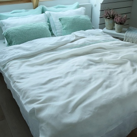 White With Mint Piping Linen Bed Linen Set