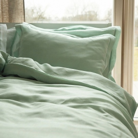 Mint With White Piping Linen Bed Linen Set