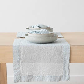 Ice Blue Linen Placemat Stone Washed
