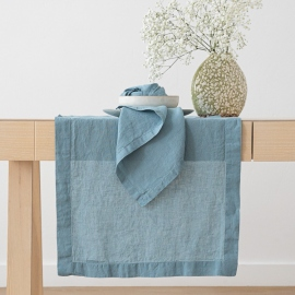 Stone Washed Stone Blue Linen Tablecloth