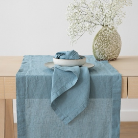 Stone Washed Stone Blue Linen Runner