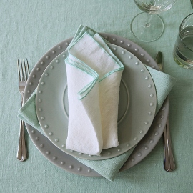 Napkin Off White Mint Linen Venezia