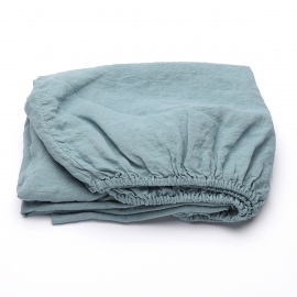 Stone Blue Linen Fitted Sheet Stone Washed