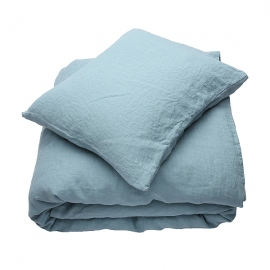Stone Blue Linen Bed Set Stone Washed