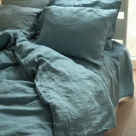 Stone Blue Linen Bed Set Stone Washed
