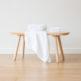 Set of Linen Bath and Hand Towels White Waffle Washed