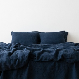 Stone Washed Bedlinen Set Navy Blue