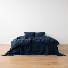 Navy Blue Linen Bed Set Stone Washed