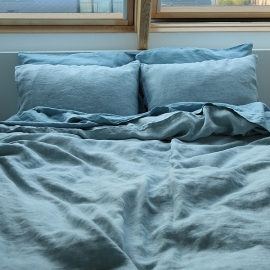 Stone Blue Linen Bed Set Stone Washed Rhomb