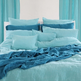 Marine Blue Linen Throw Washed Waffle Big Fringe