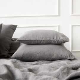 Steel Grey Stone Washed Bed Linen Pillow Case
