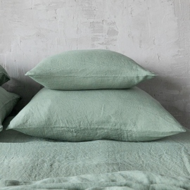 Spa Green Stone Washed Bed Linen Pillow Case