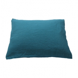 Marine Blue Linen Flat Sheet Stone Washed