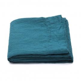 Marine Blue Linen Flat Sheet Stone Washed