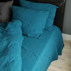 Marine Blue Stone Washed Bed Linen Flat Sheet