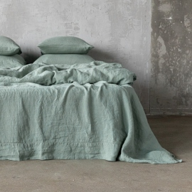 Spa Green Washed Bed Linen Flat Sheet