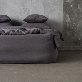 Steel Grey Linen Fitted Sheet Stone washed