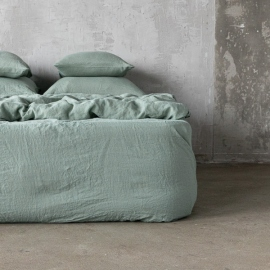 Spa Green Linen Fitted Sheet Stone washed