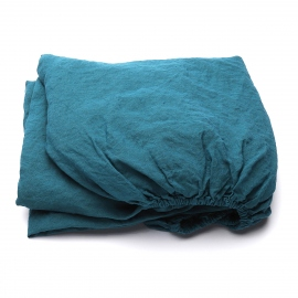 Marine Blue Linen Fitted Sheet Stone Washed