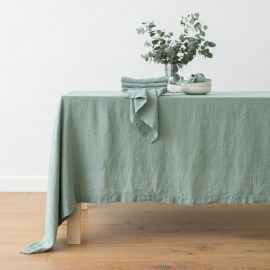 Stone Washed Spa Green Linen Tablecloth ...
