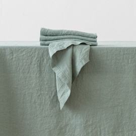 Stone Washed Spa Green Linen Napkin