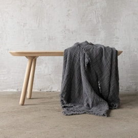 Steel Grey Linen Throw Washed Waffle Big