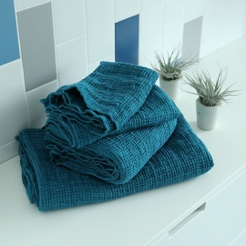 Spa Green  Linen Waffle Bath Towel Washed