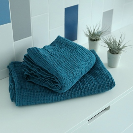 Marine Blue Linen Waffle Bath Towel Washed
