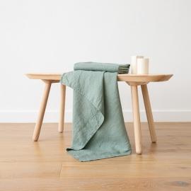Spa Green  Linen Waffle Bath Towel Washed