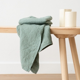 Set of 2 Spa Green Linen Waffle Hand Towels Washed