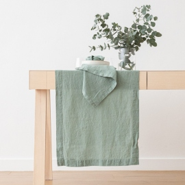 Stone Washed Linen Runner Spa Green