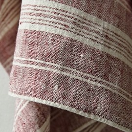 Set of 2 Hand  Towels Cherry Linen Multistripe