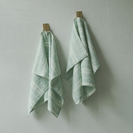 Set of 2 Hand Towels Mint Linen Multistripe