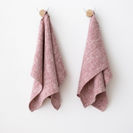 Set of 2 Cherry Linen Hand  Towels Francesca