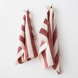 Set of 2 Cherry Linen Hand Towels Philippe