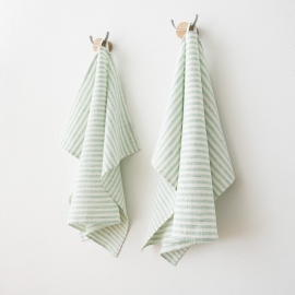 Set of 2 Mint Linen Hand Towels Brittany