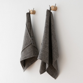 Set of 2 Black Linen Hand Towels Chevron