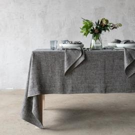 Black Linen Tablecloth Chevron