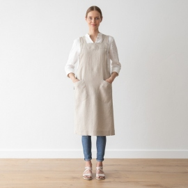 Stone Washed Linen Back Cross Apron Natural