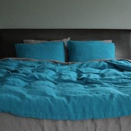 Marine Blue Linen Fabric Stone Washed