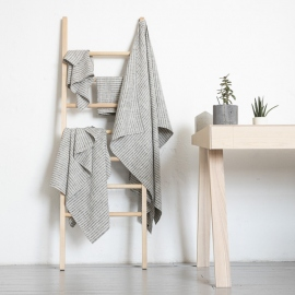 Black Natural Linen Bath Towels Set Brittany