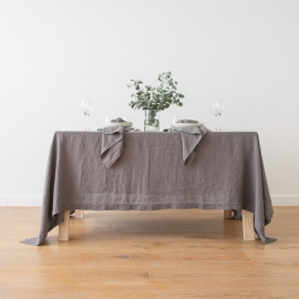 Stone Washed Steel Grey Linen Tablecloth