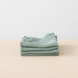 Set of 4 Spa Green Linen Wash Cloths Waffle