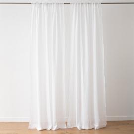 Optical White Linen Curtain Panel Garza