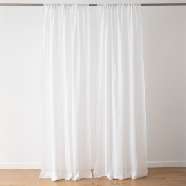 Optical White Linen Curtain Panel Garza