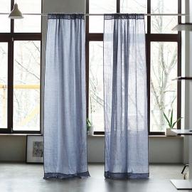 Folkstone Grey Linen Curtain Panel Garza