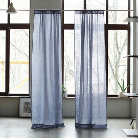 Folkstone Grey Linen Curtain Panel Garza