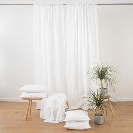 White Stone Washed  Rod Pocked Linen Curtain Panel